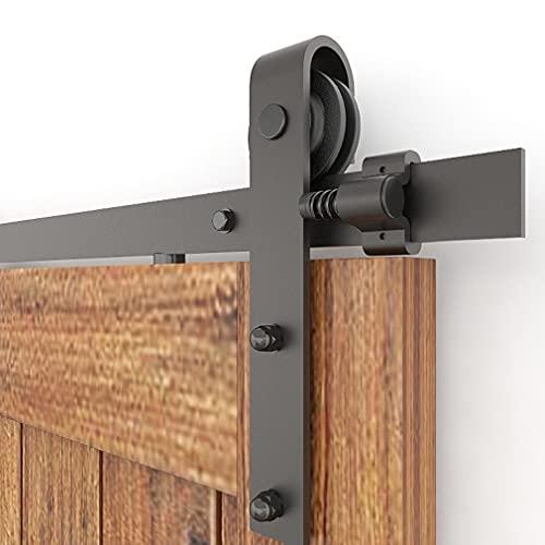 CCJH 6.6FT-200cm Herraje para Puertas Kit de Accesorios para Puerta Correderas Juego de Armarios de Acero Corredizos para Puertas Corredera Riel Rueda para Puerta de Madera Individual