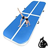 Colchoneta de aire de 10/20 cm de alto, longitud de 3 a 12 metros - Colchoneta hinchable para gimnasia y acrobacias con bomba incluida, Azul claro, 300*100*10cm