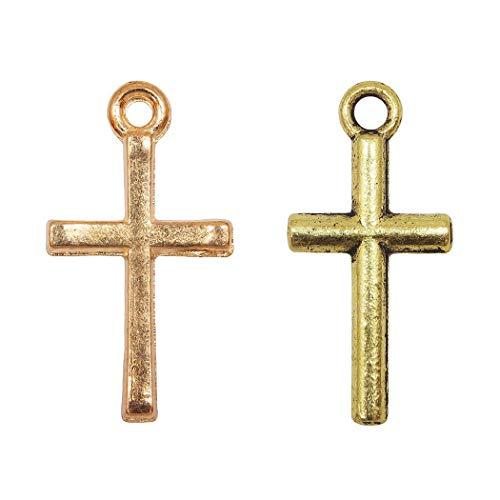 クロス 十字架 カン付き パーツ ゴールド チャーム ハンドメイド (ゴールド)