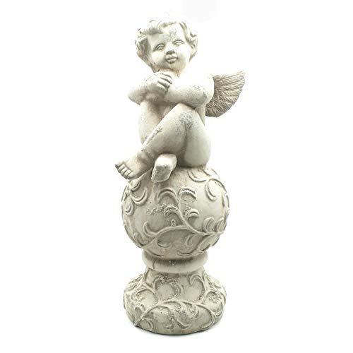 ExtraHome Dekofigur - Skulptur Engel für Haus und Garten aus Terracotta antikweiss