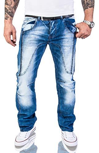 Rock Creek Herren Designer Jeans Hose Dicke Nähte Vintage Herrenjeans Stonewashed Comfort Fit Used Look gerades Bein RC-2011 Blau W32 L32