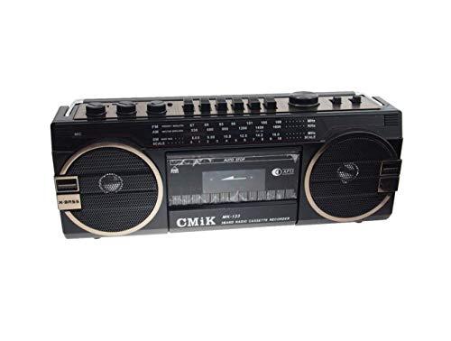 EUROXANTY® Radio Cassette USB SD Portatil MK-133 | Micrófono integrado - Grabación | Radio 3 bandas AM/FM/SW | 2 altavoces X-bass integrados de 8W