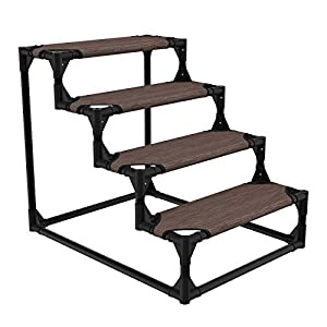 Veehoo Sturdy Pet Steps – Pet Stairs for Small Dogs and Cats, Doggie, Puppy and Older Cats Step for High Bed Couch, Brown