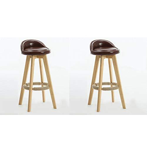 FYMDHB886 Barkruk Hoge kruk Barstoel Lederen stoel Roterende ontbijtstoel Veelzijdig Houtkleur houten stoel (Bruin 2 stuks), Size, A