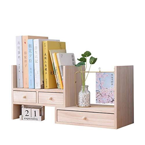 Luyshts Estante de madera ajustable Estante de escritorio Estantería con cajón Estante Estante de almacenamiento Estante de oficina Soporte de exhibición Cocina Bao Color de madera 33x20x28cm (13x8x11