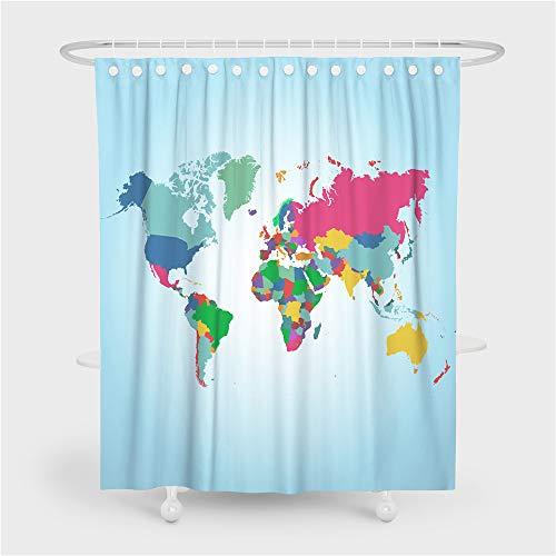 Fansu Duschvorhang Wasserdicht Anti-Schimmel Anti-Bakteriell 3D Weltkarte Drucken mit C-Form Kunststoff Haken mit 12 Ringe für Badzimmer, 100prozent Polyester Bad Vorhang (Himmelblau,90x180cm)