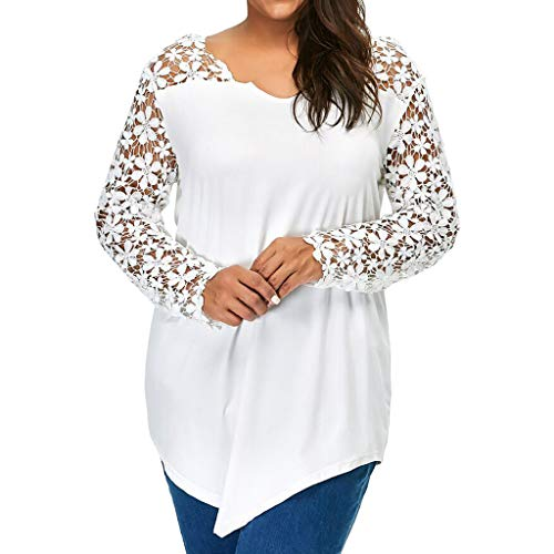 VEMOW Plus Size Fashion Sommer Herbst Lady Lace Damen Langarm T-Shirt Casual Top Bluse(X1-a-Weiß, 52 DE / 5XL CN)
