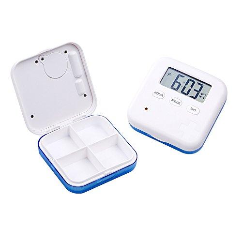 Pill Organizer,Portable Medicine Box Daily Medicine Organizer Box with Alarm Reminders-4 Compartment Medicine Pill Container Case (Blue)