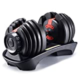 GYYNB fitness dumbbells, safety lock design, 15-speed fast automatic dumbbell adjustment function for exercise, can improve physical fitness; black, 50 pounds, 1 dumbbell