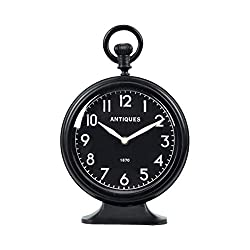 NIKKY HOME Table Top Clock, Vintage Metal Round Analog Desk Clock Battery Operated for Living Room Decor Shelf - Black