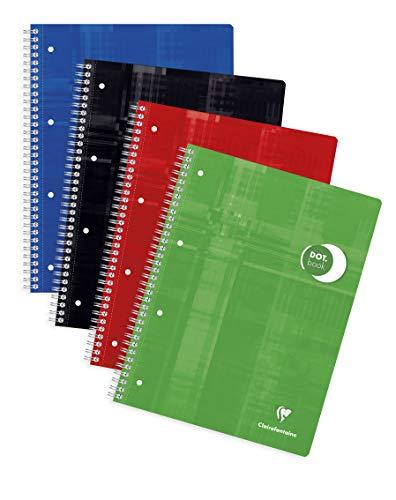 Clairefontaine 8253C Collegeblock DotBook, DIN A4, Spiralbindung, 4-fach gelocht, 80 Blatt, 1 Stück, farbig sortiert