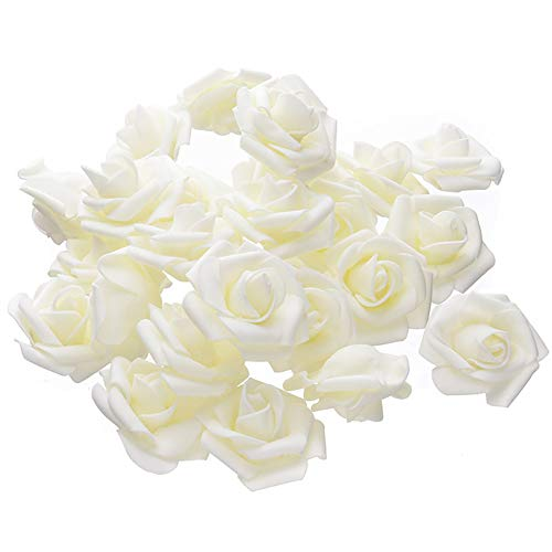 Warmiehomy Artificial Flower Foam Rose, 50 Pcs Real Touch Artificial Roses for DIY Bouquets Wedding, Party, Garden, Office, Home Decor, Beige