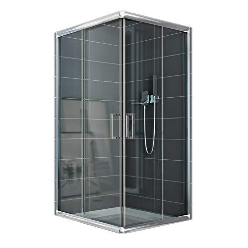Cabina de ducha rectangular, 80 x 120 x 185 cm, transparente, 6 mm de grosor