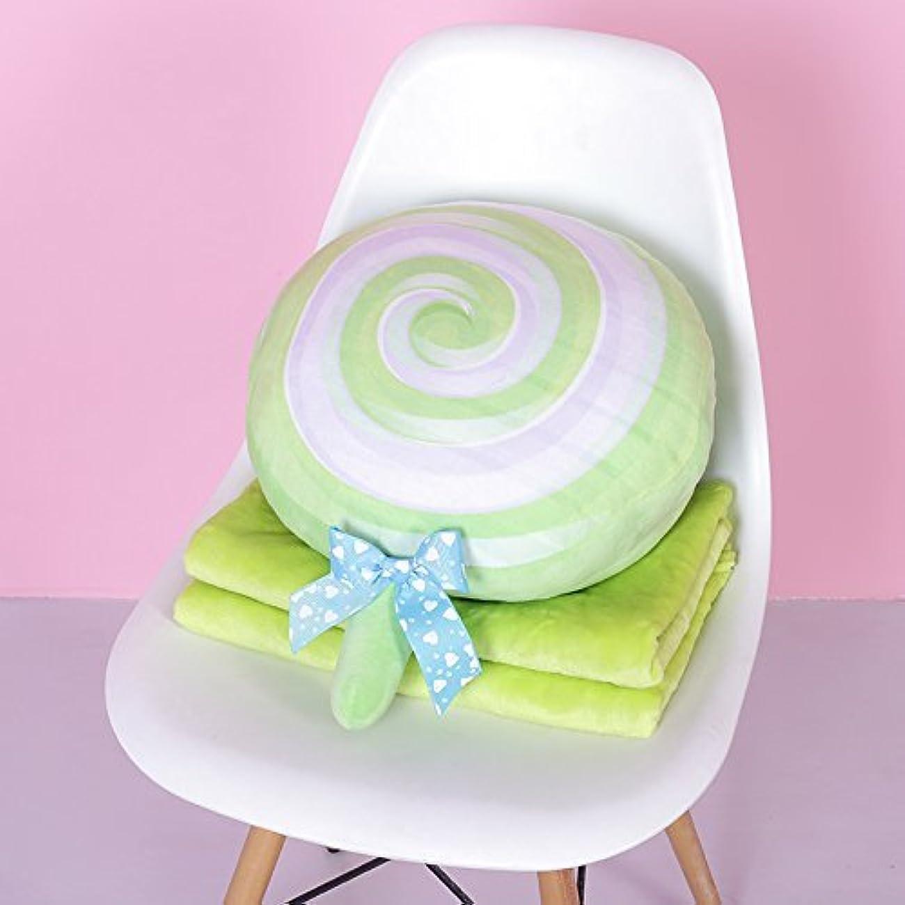 髄足首タイピスト2J-QingYun Trade 仮眠枕車の枕キルト兼用サンゴベルベットウエスト枕クッションエアコン毛布 (Color : 緑)