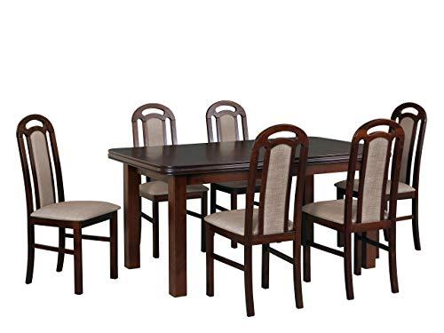 Mirjan24 Esstisch mit 6 Stühlen DM45, Sitzgruppe, Küchentisch, Esstischgruppe, Esszimmer Set, Esstisch Stuhlset, Esszimmergarnitur, DMXZ (Nuss/Nuss Inari 23)
