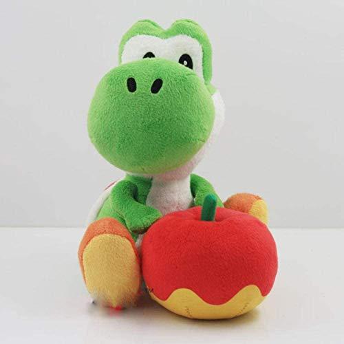 DINEGG 17cm Yoshi mit Apfel Plüschpuppe Spielzeug Super Mario Yoshi Plüschtier YMMSTORY