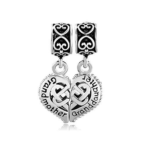 LovelyCharms Grandmother Granddaughter Love Heart Charm Beads for Bracelets
