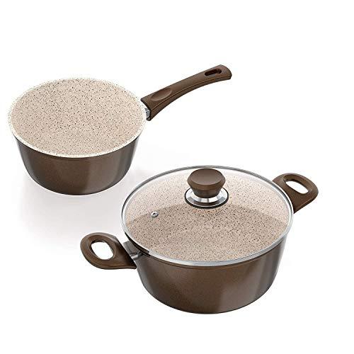 Genius Cerafit Granit Topf-Set Ø 24 cm Ø 18 cm inkl. Glasdeckel (3 Teile) mit 3-lagiger Keramikbeschichtung Antihaft-Beschichtung für hochwertige Kochergebnisse