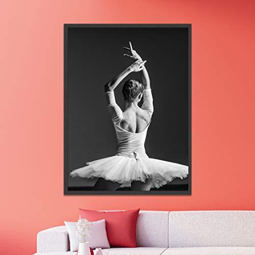 Danjiao Schwarz-Weiß-Balletttänzerin Rückansicht Beauty Girl Photo Art Print Poster Wandbild Leinwand Malerei Ballerina Home Decortion Wohnzimmer 40x60cm