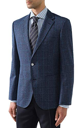Hugo Boss Men's 'Janson' Blue Regular Fit Wool Blend Windowpane Sport Coat Blazer, 38R
