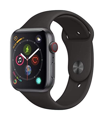 Apple Watch Series 4 (GPS + Cellular, 44MM) - Space Black Aluminum Case with Black Sport Band (Renewed)