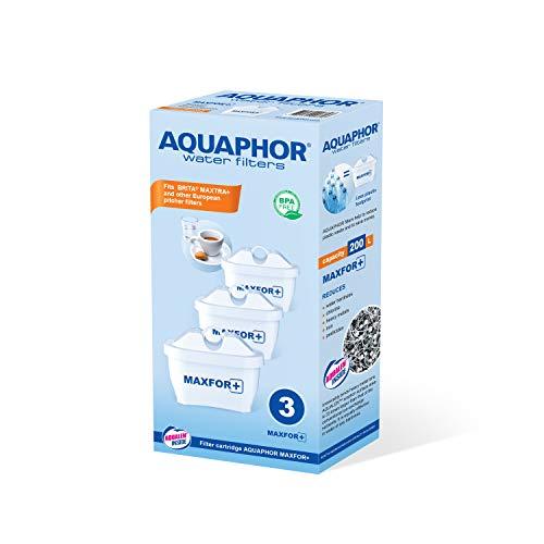 AQUAPHOR Maxfor+ Pack de 3 Cartouches filtrantes Anti-calcaire, Chlore et Autres substances indésirables, avec AQUALEN breveté, Blanc, 200 l