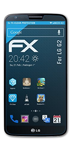atFolix Schutzfolie kompatibel mit LG G2 Folie, ultraklare FX Bildschirmschutzfolie (3X)