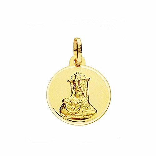 Medalla Oro 18K Virgen Angustias 16mm. Lisa Bisel [Aa2567Gr] - Personalizable - Grabación Incluida En El Precio