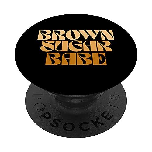 Retro Brown Sugar Babe 60s 70s 80s Melanin Afroamericana PopSockets PopGrip Intercambiable