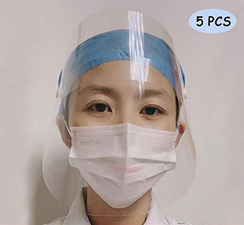 Schutzvisier für Augen und Gesicht, mit transparentem Film, elastischem Band und Komfort-Schwamm/speichelfest, staubdicht, Schutzkappe gegen Beschlagen, 5 Stück