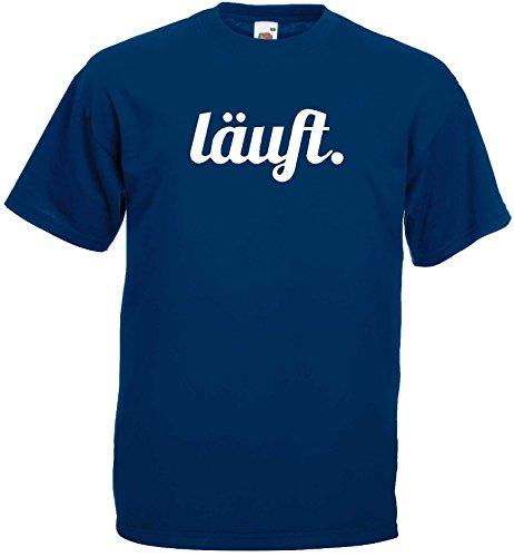 lustiges Herren T-Shirt LÄUFT Funshirtmarine-XL
