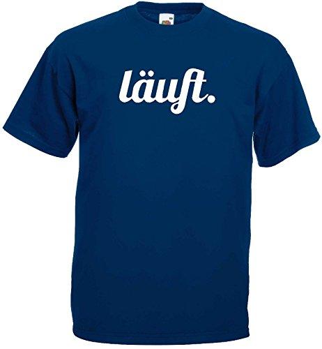 lustiges Herren T-Shirt LÄUFT Funshirtmarine-XXXL