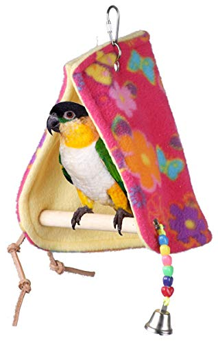 """SUPERBIRD Creations SB474 Sheltering Peekaboo Perch Tent with Colorful Plastic Beads & Bell, Small to Medium Size, 12"""" x 5"""" x 6.5"""""""