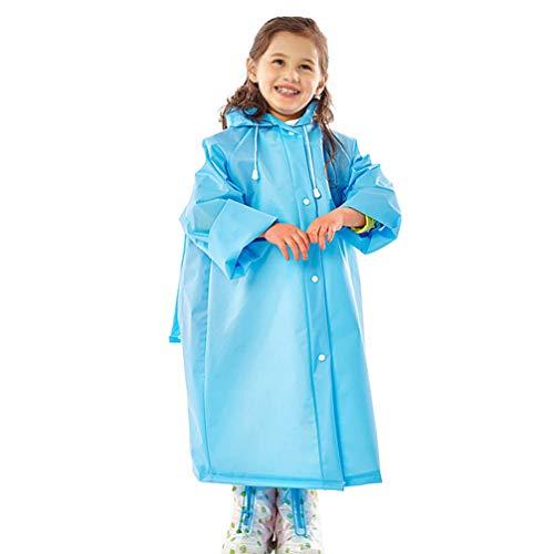 KESYOO 1 St Dikker Regen Poncho Jas Kinderen Regenjas Elastische Mouw Regenkleding Met Schooltas Hoes en Capuchon Voor Kinderen Buiten-Blauw