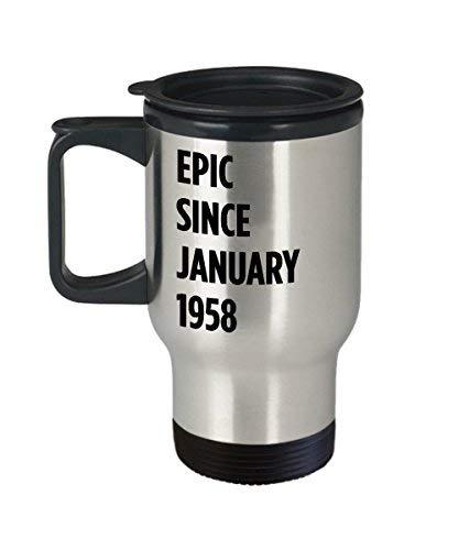 Maureen52Dorothy 60 januari verjaardagscadeau Epic Sinds januari 1958 koffie reismok voor mannen vrouwen Vissen Ram 14Oz roestvrij staal