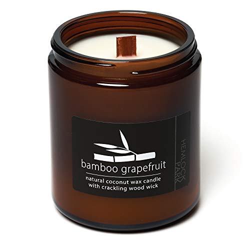 Bamboo Grapefruit Crackling Wood Wick Candle Made with Organic Coconut Wax (Standard 8 oz   225 g)