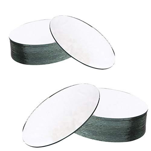 Milisten - 20 espejos de cristal ovalados para espejos de azulejos de bricolaje para mesa, centro de mesa, espejos para maquillaje, fotos, dormitorio, Flatback