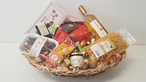 Cesta regalo in vimini 'Capinera' con 10 prodotti tipici siciliani, idea natalizia