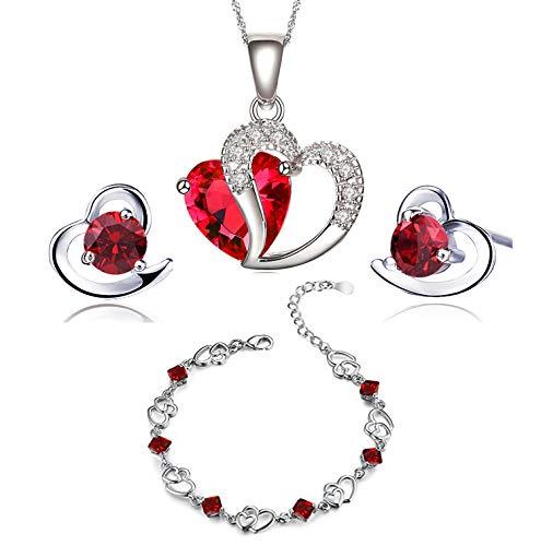 findout swarovski element Amethyst red pink blue white Crystal Heart Silver pendant Necklace + earring+ bracelet set,for women girls. (f497) (red crystal)