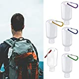 5pcs Bulk Refillable Containers for Hand Sanitizer Holder Keychain with Clip, 1.69oz Portable Travel Size Squeeze Plastic Bottles for Toiletry Shampoo Lotion Soap (5pcs)