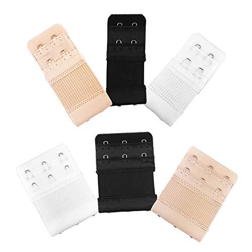 6pcs Women Ladies Soft Comfortable Back Bra 3 Hooks and 2 Hooks Band Extension Strap Extender