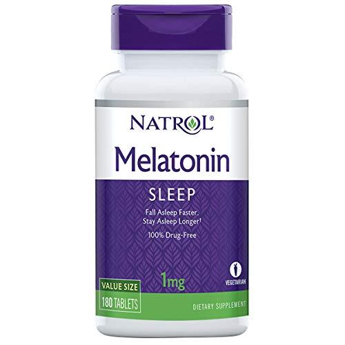 Natrol Melatonin Tablets, Helps You Fall Asleep Faster, Stay Asleep Longer, Strengthen Immune System, 100% Vegetarian, 1mg, 180 Count