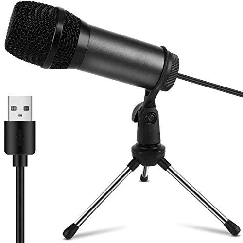 Mini Micrófono PC USB, Micrófono Computadora Condensador Portatil Plug & Play con Soporte Trípode & Filtro Pop para Grabación Vocal/Skype/Podcasting/Video(Laptop,Ordenador, PS4, Mac