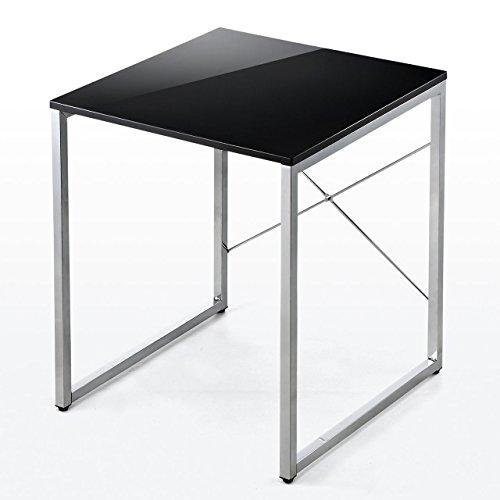 サンワダイレクト パソコンデスク 幅60cm×奥行60cm 鏡面仕上げ 正方形 デスク ブラック 100-DESK093BK