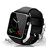 Adlynlife Men's Women's Touchscreen with Camera Bluetooth Watch Phone with SIM Card Slot Watch Cell Phone X5S Smartwatch for Android Phones Compatible Android iOS Samsung Phones (Black)