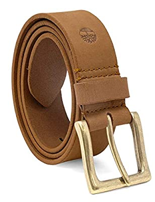 Timberland Men's 38 Mm Boot Leather Belt, Yellow Wheat, 34