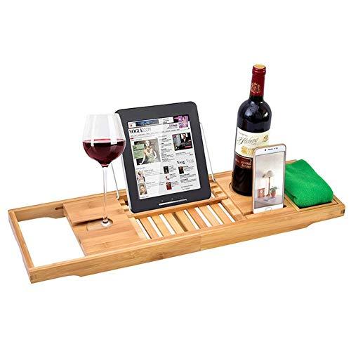 Bandeja extensible para bañera, bandeja de baño de bambú, estante de madera para bañera, organizador de baño de bambú para sostener la tableta del teléfono y más
