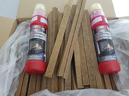 Fidibusse 200 Stück Ofenanzünder Grillanzünder Anzünder + Kaminglas Reiniger Gel mit Bürste, 2 Flaschen á 200ml