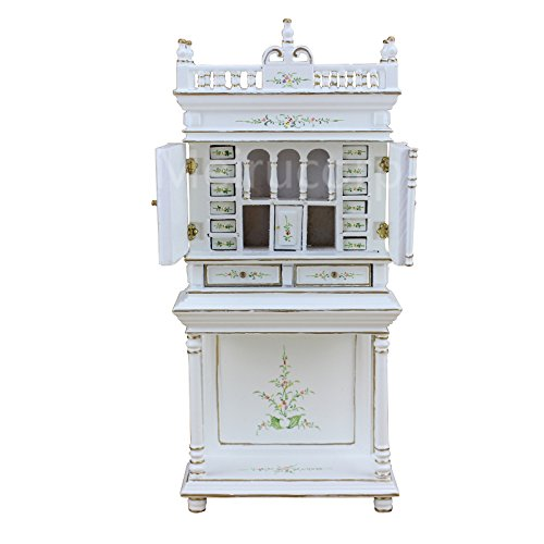 Meirucorp 1/12 Scale Dollhouse Miniature Furniture Vintage Handmade White Painted Collection Cabinet