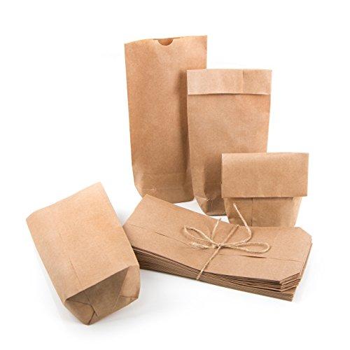 100 kleine braune Papiertüten Kraftpapier 10,7 x 22 x 4,2 cm Mini-Tüten Kreuzbodenbeutel Natur-Tüte Bodenbeutel Sackerl Verpackung Tischkarte Geschenk give-away Papierbeutel bio